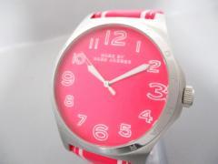 マークジェイコブス MARC BY MARC JACOBS 腕時計 美品 MBM1231 レディース 革ベルト ネオンピンク【中古】