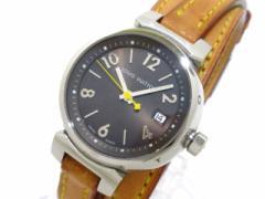 ヴィトン LOUIS VUITTON 腕時計 タンブール トリプルコイルド Q1211 レディース 革ベルト ダークブラウン【中古】
