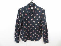 アニエスベー agnes b 長袖シャツブラウス サイズ2 M レディース 黒×ピンク×レッド×グリーン 花柄【中古】