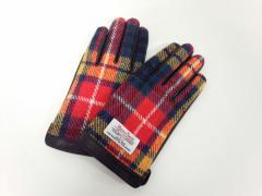 ハリスツイード Harris Tweed 手袋 メンズ マルチ チェック柄 ウール×レザー【中古】
