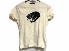 ケイタマルヤマ KEITA MARUYAMA 半袖セーター サイズ1 S レディース 白×黒 ネコモチーフ【中古】