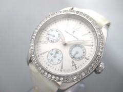 カメリーノ Roberta di camerino 腕時計 RC7035 レディース 革ベルト/ラインストーン/クロノグラフ シルバー【中古】