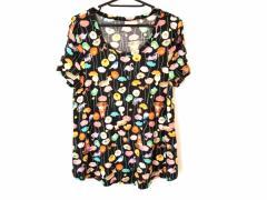 フランシュリッペ franchelippee 半袖Tシャツ サイズM レディース 黒×ピンク×マルチ 花柄/アニマル柄【中古】