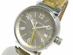 ヴィトン LOUIS VUITTON 腕時計 タンブールGMT Q1132 メンズ ベージュ【中古】
