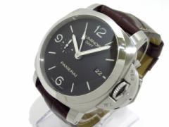 パネライ PANERAI 腕時計 美品 ルミノール1950 3デイズGMT PAM00320 メンズ SS/革ベルト/裏スケ 黒【中古】