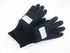 ハリスツイード Harris Tweed 手袋 メンズ 黒×ダークグリーン×ブルー チェック柄 ウール×スエード×レザー【中古】