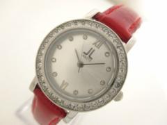ランチェッティ LANCETTI 腕時計 美品 - レディース 革ベルト/ラインストーン シルバー【中古】