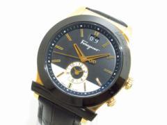 フェラガモ SalvatoreFerragamo 腕時計 F62 レディース 革ベルト ダークネイビー×アイボリー【中古】