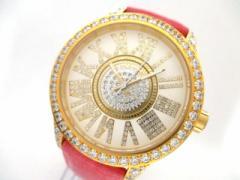 フェイスアワード FACEAWARD 腕時計 美品 - メンズ ラインストーン/型押し加工/レザーベルト アイボリー×ゴールド【中古】
