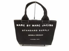 マークバイマークジェイコブス MARC BY MARC JACOBS ハンドバッグ レディース - 黒×白 キャンバス【中古】