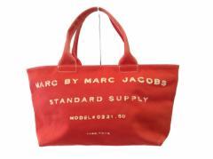マークバイマークジェイコブス MARC BY MARC JACOBS ハンドバッグ レディース - レッド×ベージュ キャンバス【中古】