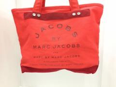 マークバイマークジェイコブス MARC BY MARC JACOBS ハンドバッグ レディース - レッド キャンバス【中古】