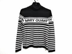 マリークワント MARY QUANT 長袖セーター サイズM レディース 白×黒 タートルネック/ボーダー【中古】