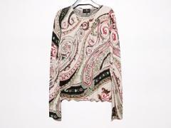 エトロ ETRO 長袖セーター サイズ44 L レディース 美品 ライトグレー×カーキ×レッド シルク×カシミヤ【中古】
