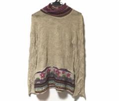 エムアンドキョウコ 長袖セーター サイズ2 M レディース 美品 ベージュ×パープル×マルチ タートルネック/花柄【中古】