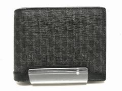 モンブラン MONTBLANC 2つ折り財布 レディース カーキ×黒×マルチ コーティングキャンバス×レザー【中古】