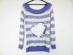 デシグアル Desigual 長袖セーター サイズL レディース 白×ブルー ボーダー/スパンコール【中古】