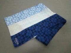 7315a49e2180 コーチ COACH スカーフ レディース 美品 シグネチャー柄 ライトブルー×ネイビー×マルチ【中古