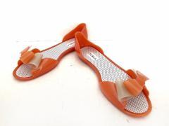 345524a04c22 フルラ FURLA パンプス 37 レディース オレンジ×ライトグレー リボン PVC(塩化ビニール)【