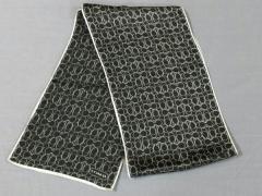 87b5c383ba15 コーチ COACH スカーフ レディース 美品 ミニシグネチャー柄 黒×ライトグレー シルク【中古
