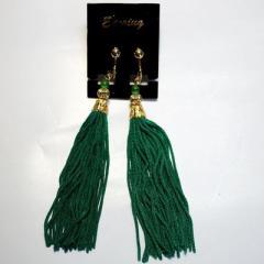 房飾りイヤリング(ピアス)緑色