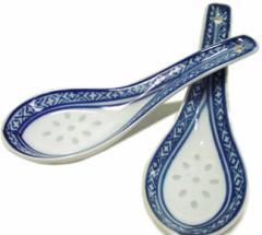 景徳鎮製 ホタル焼き れんげ レンゲ(蓮華) 青