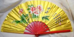 牡丹柄・カンフー扇子(功夫扇子)・金(骨=竹、赤) 33cmサイズ