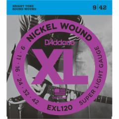 ダダリオ EXL120 エレキギター弦 (Super Light .009-.042)DAddario XL Nickel Round Wound[EXL120DADDARIO]【返品種別A】