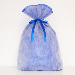 シモジマ 不織布リボン巾着袋 LLサイズ(ブルー) 【返品種別B】