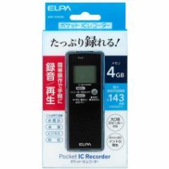 ELPA ADK-ICR500 ICレコーダー 4GBメモリ内蔵(ブラック)Pocket IC Recorder[ADKICR500]【返品種別A】