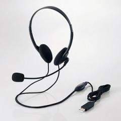 エレコム HS-HP27UBK USBヘッドセット(両耳小型オーバーヘッドタイプ)[HSHP27UBK]【返品種別A】