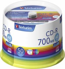 バーベイタム SR80FP50V1 データ用48倍速対応CD-R 50枚パック 700MB ホワイトプリンタブル[SR80FP50V1]【返品種別A】