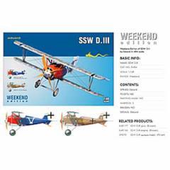 エデュアルド 1/48 WWI 独戦闘機 SSW D.III ウィークエンドエディション【EDU8484】プラモデル 【返品種別B】
