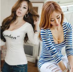 胸元セクシー Uネックカットソー レディース 予約商品 v-fb2005-i8837YS