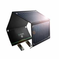 入荷次第の発送。改良版 ソーラー充電器 RAVPower 超軽量 16W 2ポート 折りたたみ式 ソーラーパネル 防災 非常用