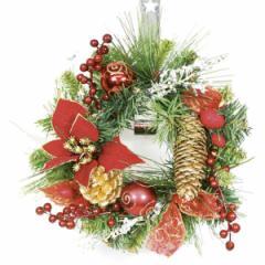クリスマス 雑貨 リース レッドポインセチア 23cm 飾り