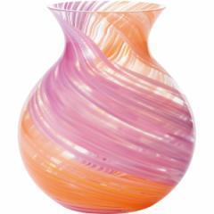 ギフト 花瓶ブーケポット ピンク 津軽びいどろ インテリア 鮮やか 置物/F71439