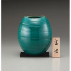 ギフト 7号花瓶 緑光彩 信楽焼 インテリア 和 置物/sha-23