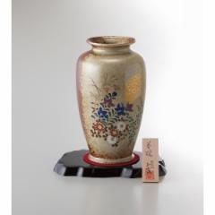 ギフト 8号壺花瓶 金月秋草 美濃焼 インテリア 和 置物/ YJ15-06