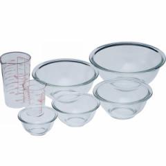 ボウル 計量カップ耐熱ガラスボウル5点&メジャーカップセット イワキ キッチン用品 レンジ