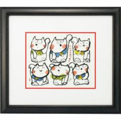 絵 壁飾り安川眞慈額 『いいことありそう』インテリア 美術品 贈り物に最適