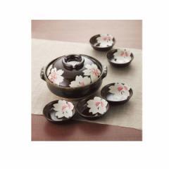 土鍋 皿桜花8号鍋セット 萬古焼 調理器具/H2340