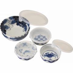 保存容器魯山人写しの器 レンジパック4点セット食器 器 皿 キッチン用品/#L-1036