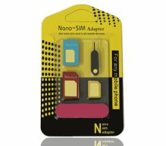 SIM変換アダプタ 5点セット KT001 Nano & Micro SIM 変換アダプター 取り出し用ピン 磨き棒付き[メール便発送、送料無料、代引不可]