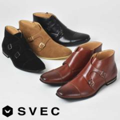 ダブルモンクストラップブーツ ブーツ サイドジップ ストレートチップ カジュアルブーツ SVEC シュベック SPB305-3