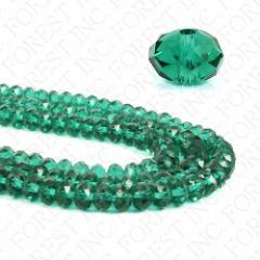 クリスタルガラスビーズ ボタンカット エメラルドグリーン 約6×4mm 1連約100粒〔GR9-6m〕