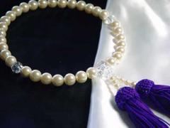 貝パール御念珠 真珠8ミリ桐箱入数珠