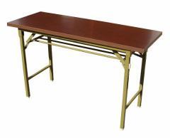 折りたたみ式会議テーブル棚付・幅120cm