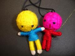 メール便 送料無料/ブードゥー人形(ハッピードール)10個セット[ハンドメイド/幸せを呼ぶ!] ┃