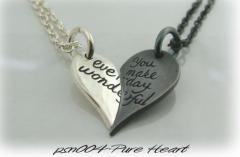 ペアネックレス刻印無料 送料無料  FISS シルバー  pure heart FISS psn-004/14,500円